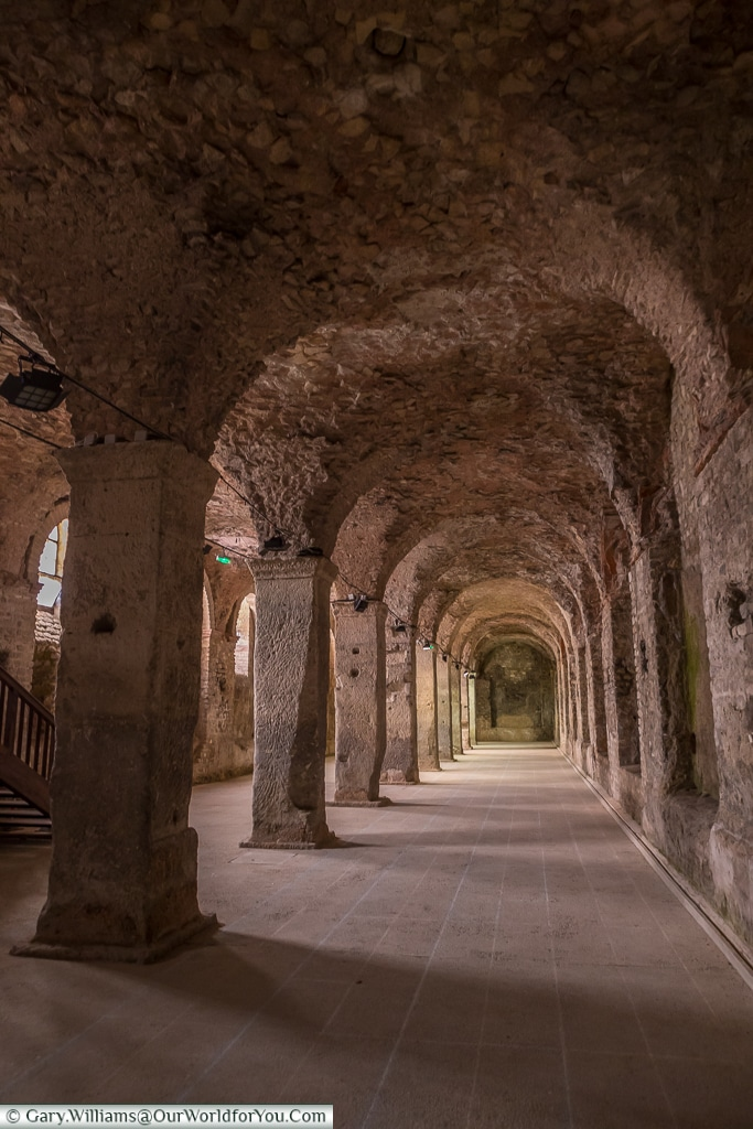 Inside the cryptoporticus, Reims, Champagne Region, France