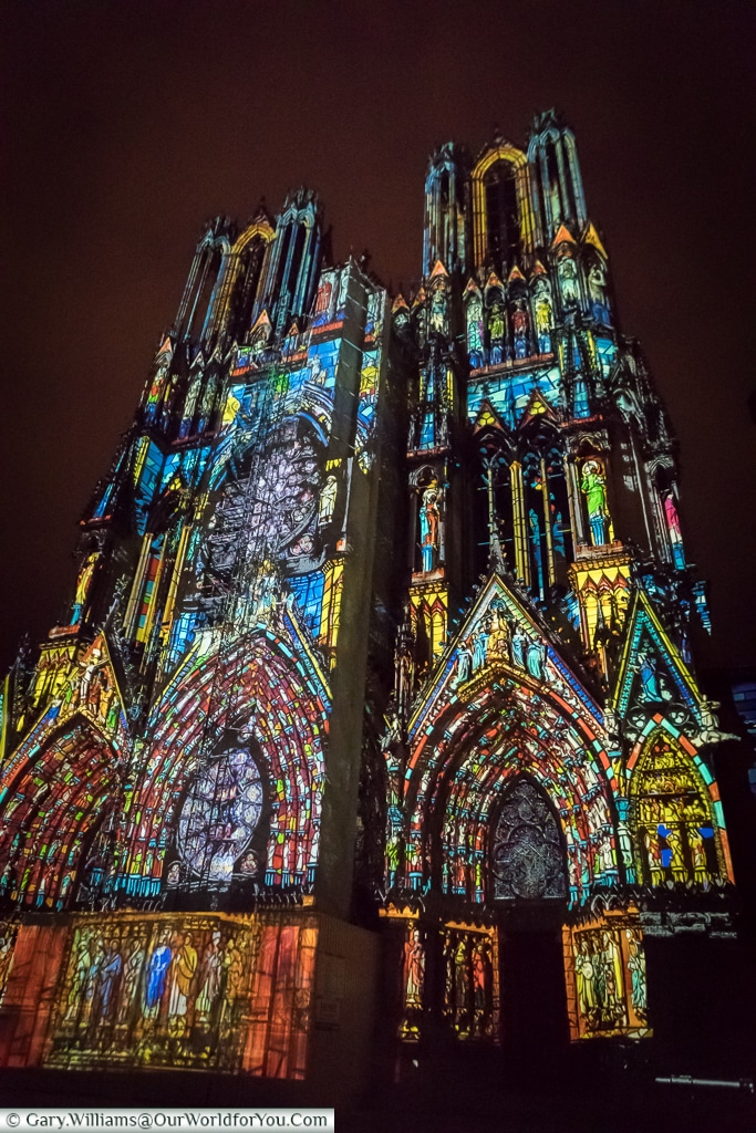 The story of the Cathedral in lights, Reims, Champagne Region, France