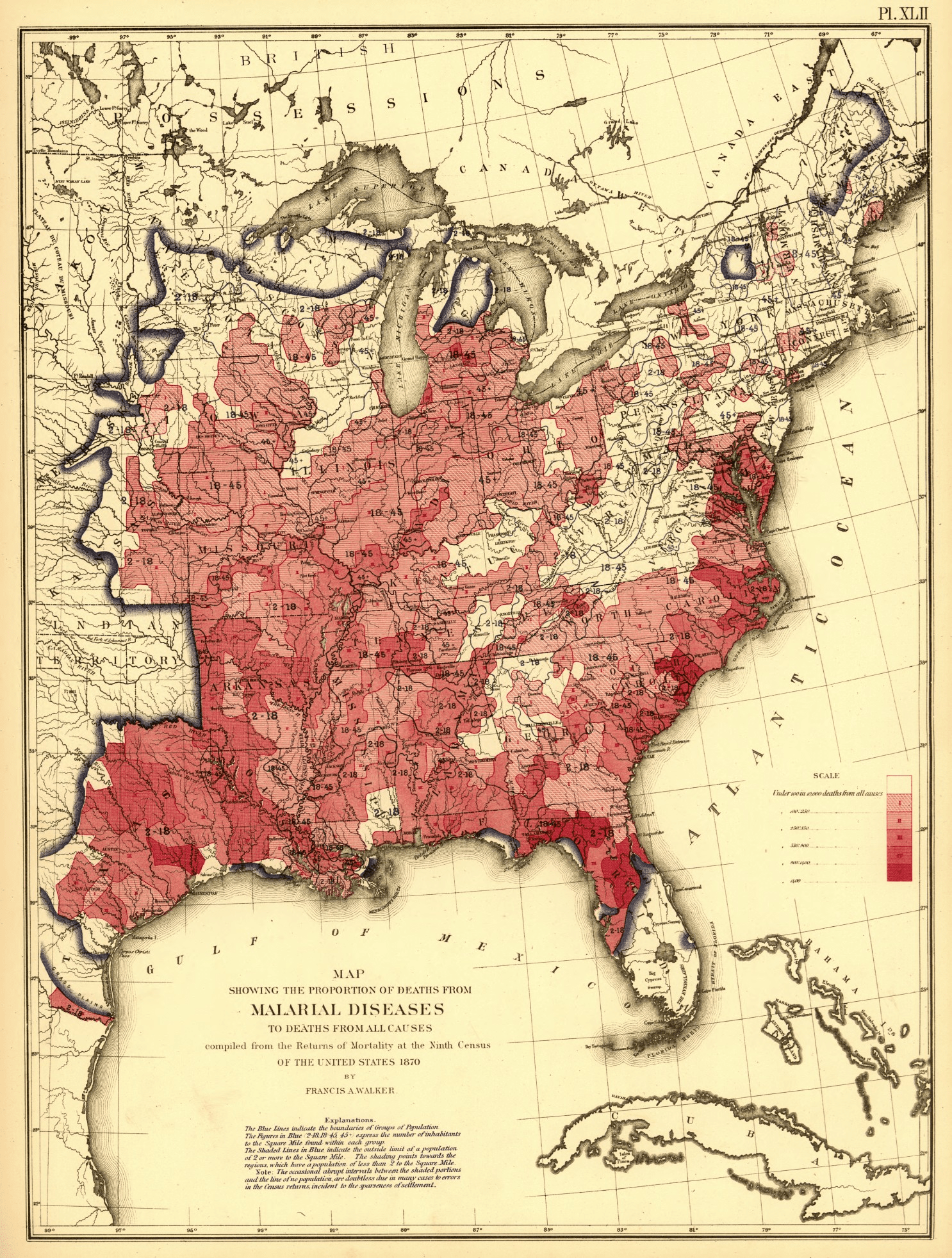 hight resolution of proportion of deaths from malaria to deaths of all causes us census 1870