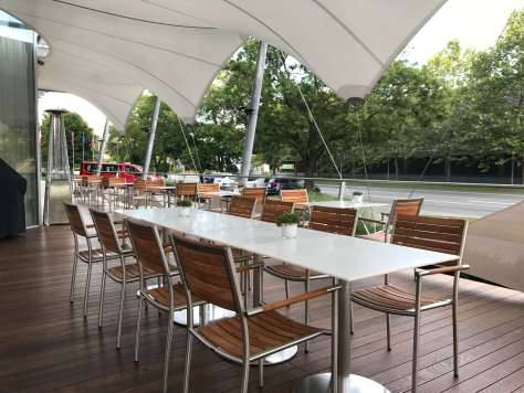 Outdoor dining area at the Holiday Inn Brno