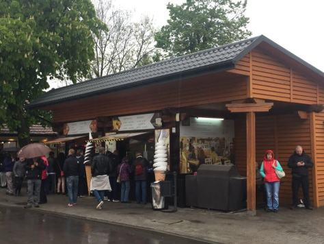 The waiting crowds have some shops to buy food before entering the Wieliczka Salt Mine