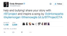 Cody Simpson tweets about #BTProject