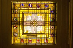 Large stained glass sky light in the buildings main atrium.