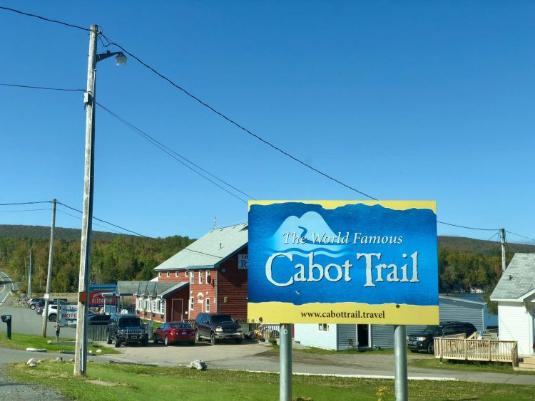 Driving the Cabot Trail sign