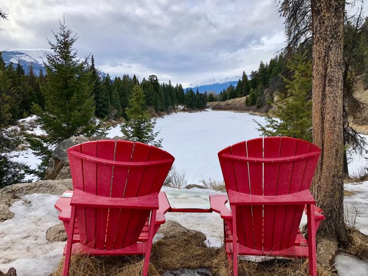 Red chairs in Valley of the Five Lakes, Jasper