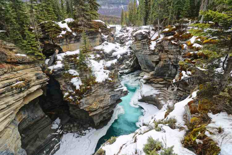 Athabasca Falls is a waterfall in Alberta