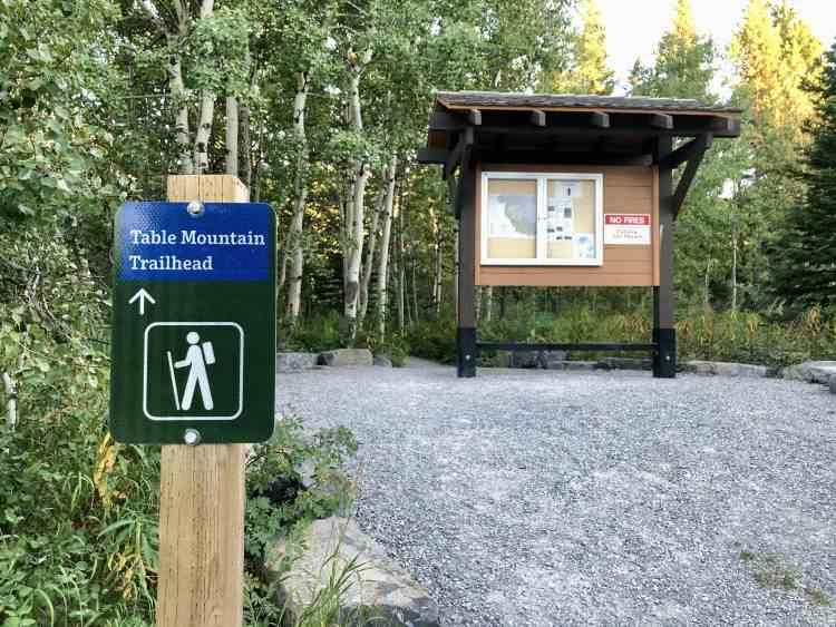 Table Mountain hike trailhead in Alberta
