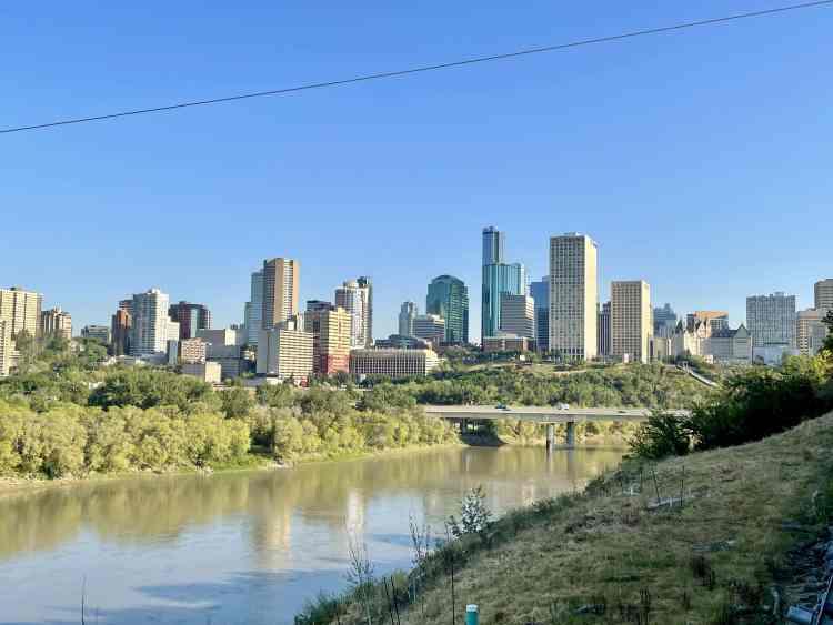 Biking in Edmonton cityscape views