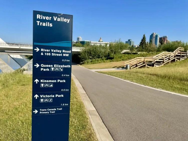 Biking in Edmonton along the River Valley Trails