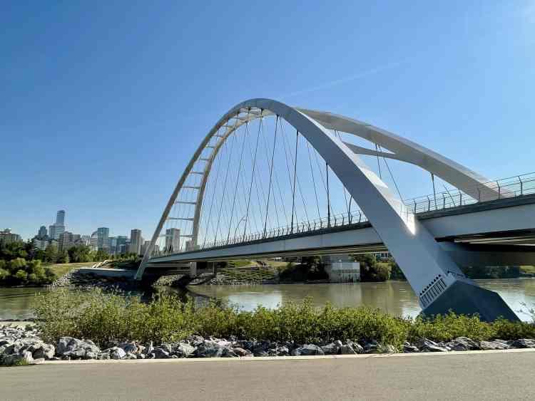 Walterdale Bridge while biking in Edmonton