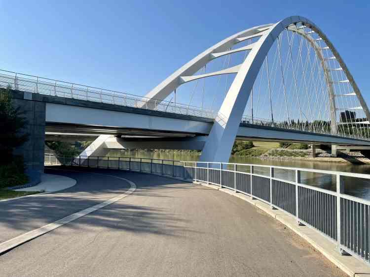 Biking in Edmonton passed Walter Bridge