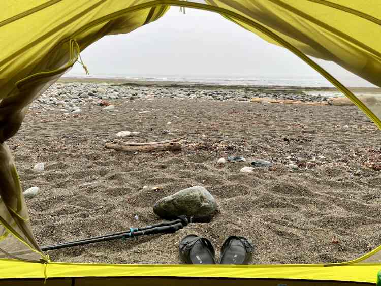 Tent views while hiking the West Coast Trail
