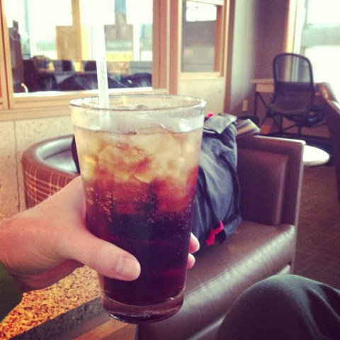 Rum 'n' coke at the Admirals Club in AUS