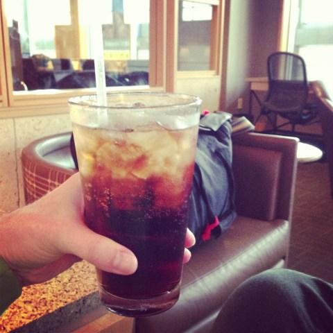 Rum 'n' coke at the Admirals Club in AUS