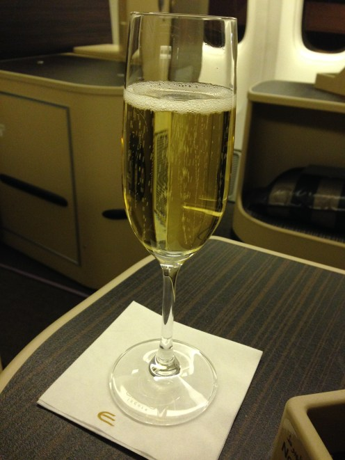 Cheers! (Pre-departure champagne)