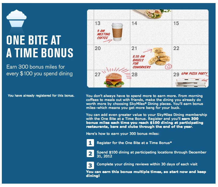 Example of a dining rewards bonus