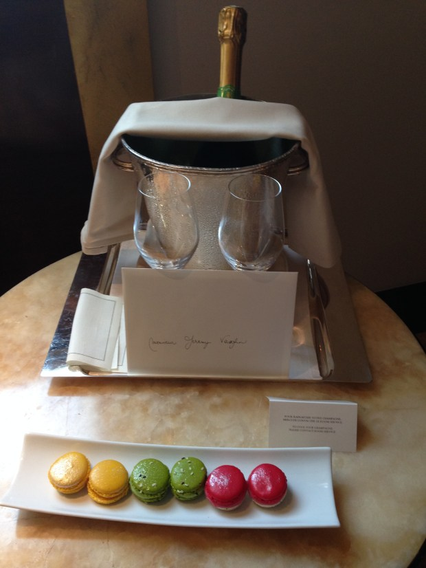 Welcome amenity of wine and macaroons