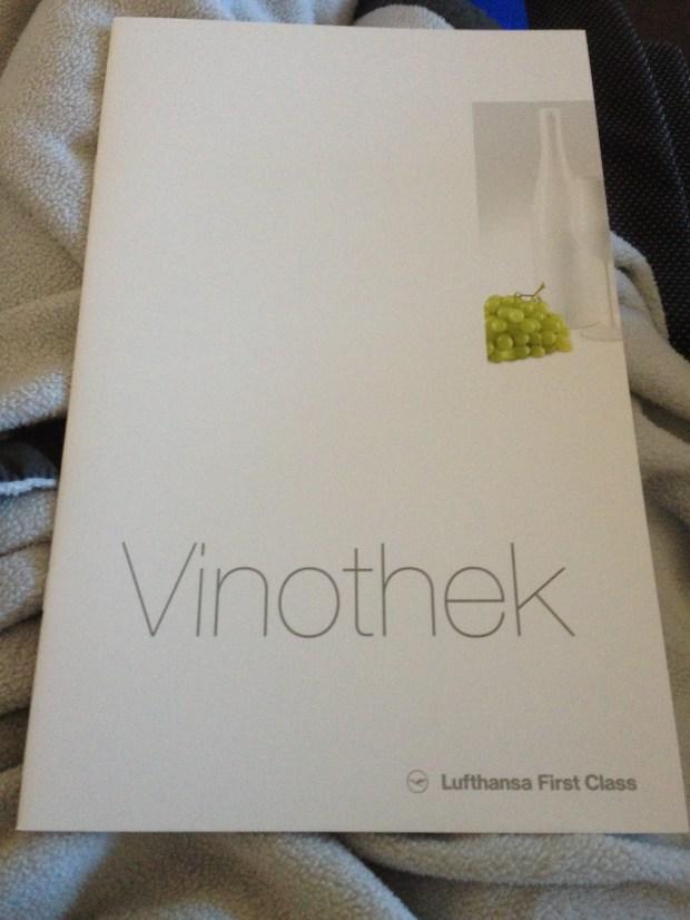 Lufthansa First Class Wine Menu