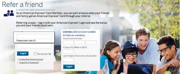 American Express Refer a Friend landing page