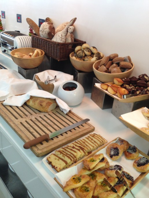 Buffet spread: breads and pastries
