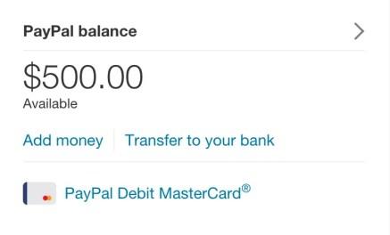 New PayPal balance