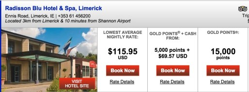 6 nights in Limerick would be ~$696