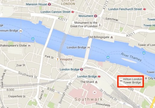 Location of the Hilton London Tower Bridge