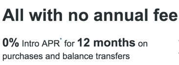 Balance transfers are 3%, but this could be a good way to float a balance for a year if you need it