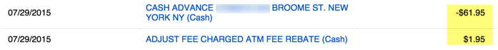 ATM charges are refunded the same day, unlimited