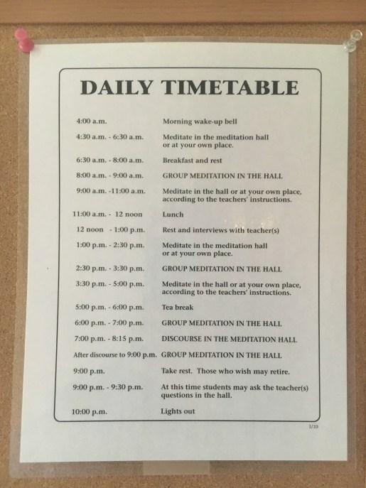 Vipassana Timetable