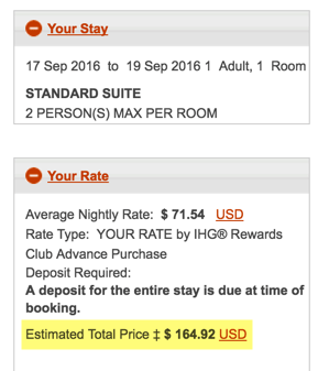 $165 for 2 nights