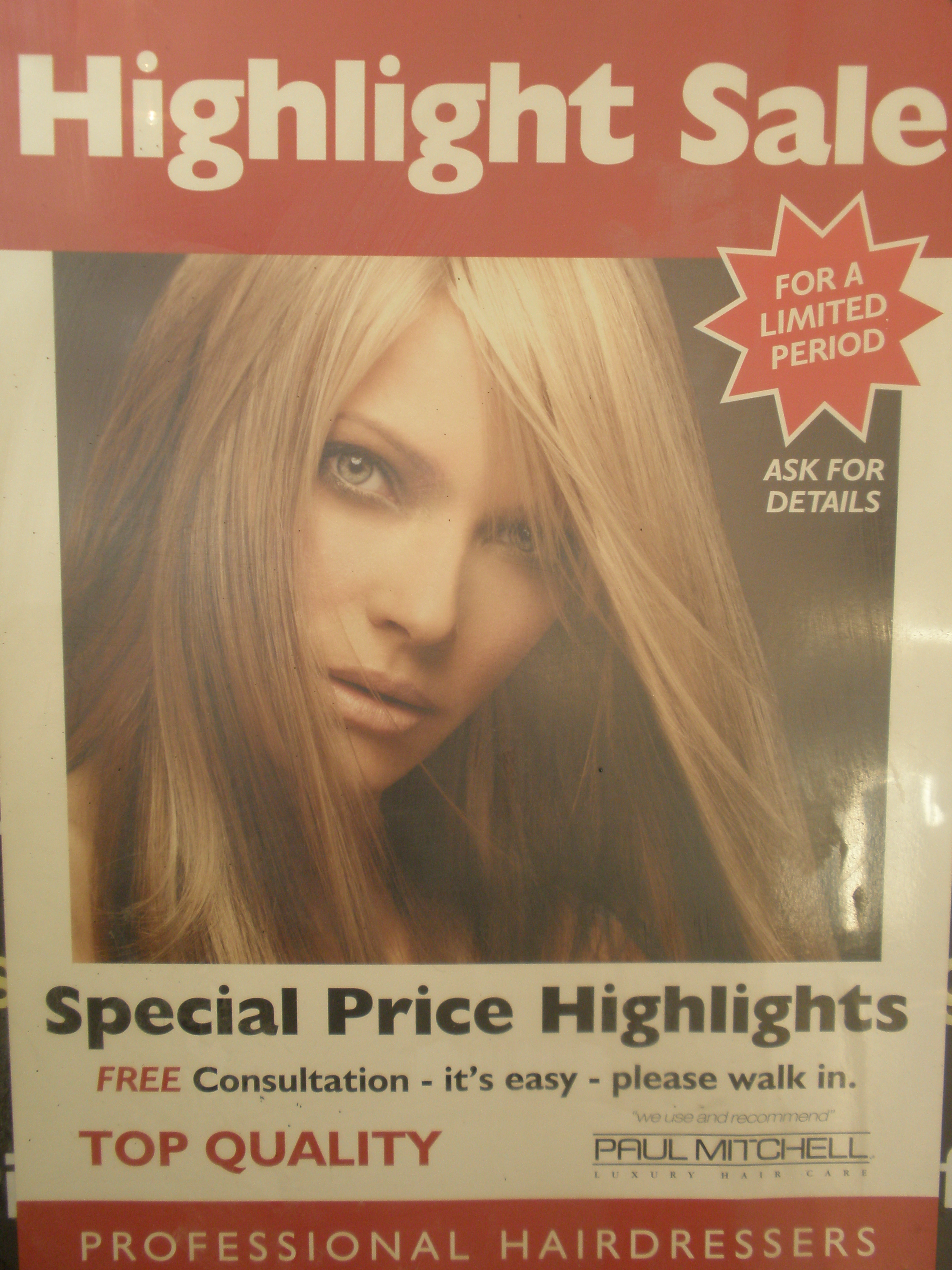 Colourful Tuesdays -  1/2 Price Colour Sale EVERY Tuesday.  All we ask is that you have a Cut & Blow Dry or a Blow Dry with your 1/2 price colour!