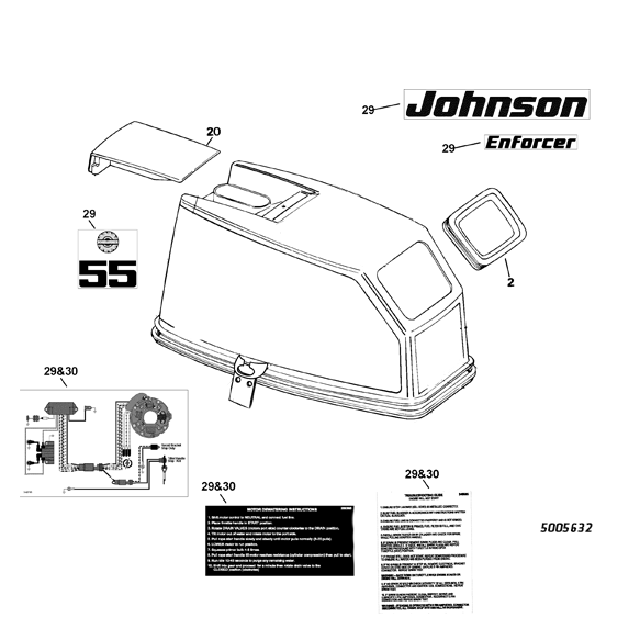 2003-2005 Johnson Enforcer 55 hp decal set