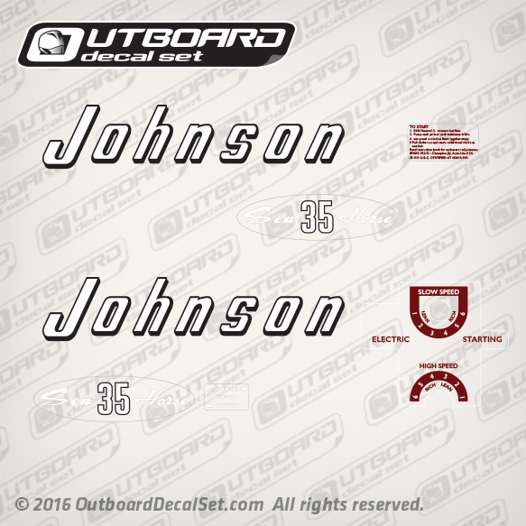 1957 Johnson 35 hp decal set RDE-19 RDEL-19