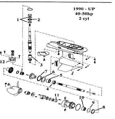 OMC 2 Cyl. Lower Gear Case