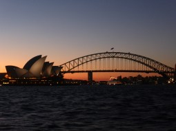 Sydney Opera House & Sydney Harbour Bridge from Mrs Macquarie's Point