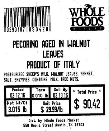 Whole Foods Market recall in Florida, NYC: Pecorino Aged