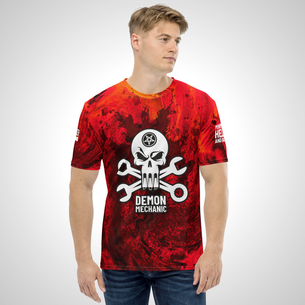 Demon Mechanic All Over Printed T-Shirt by Outcast Rebellion Front