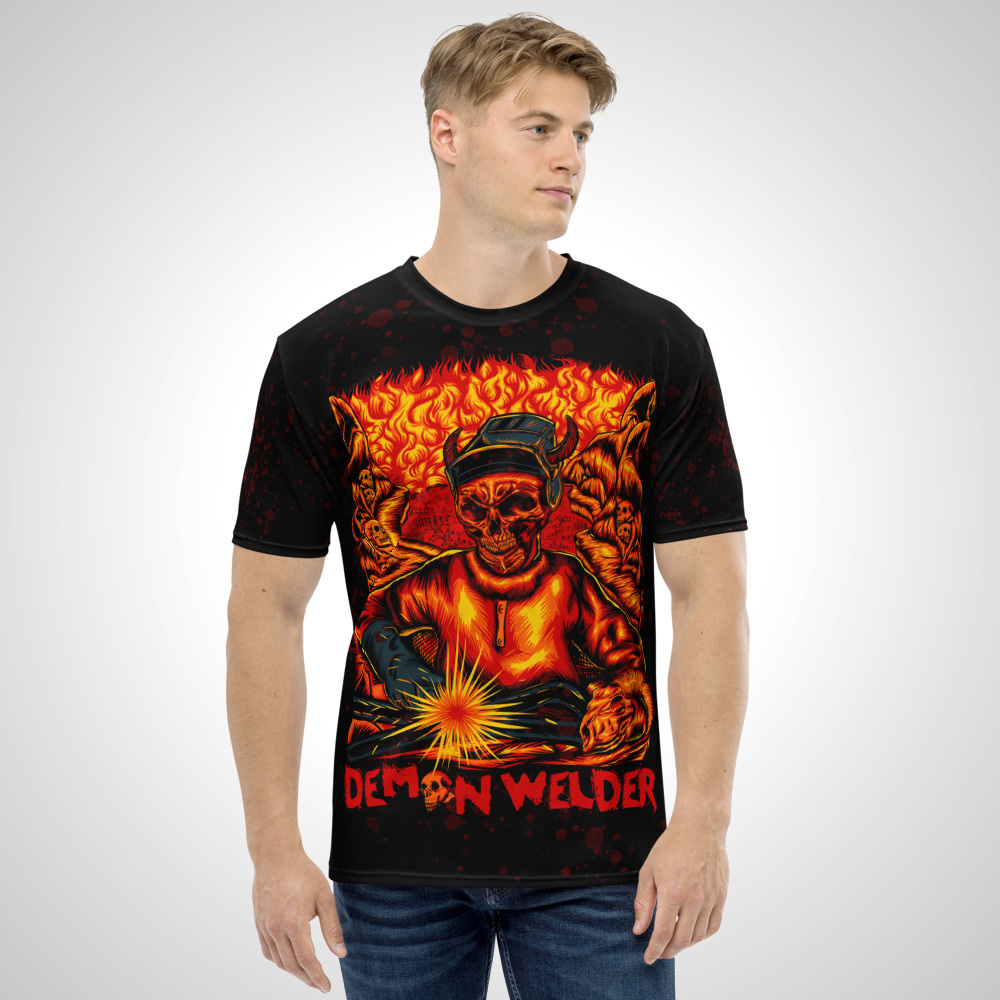 Demon Welder All Over Printed T-Shirt by Outcast Rebellion Front