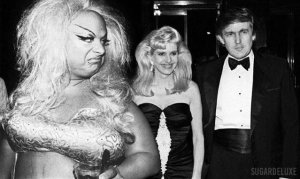 Oh Yass image of donal and ivanka trump with a drag queen
