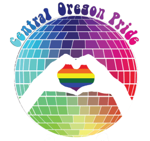 Central Oregon Pride 2018 image of a disco ball with a rainbow heart