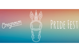 Oregrown PrideFest conceptual line drawing of a unicorn on rainbow background A month long celebration of Pride in our diversity