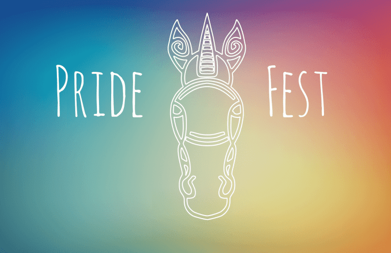 Tribal inspired line drawing of unicorn, pridefest logo