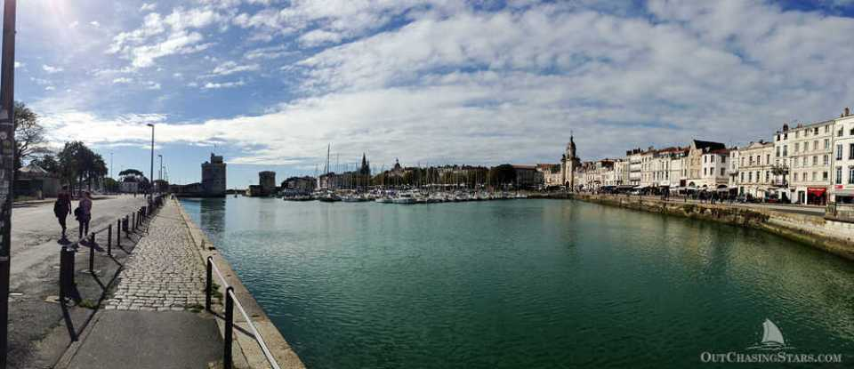 Panoramic photo of the Vieux Port in La Rochelle France.