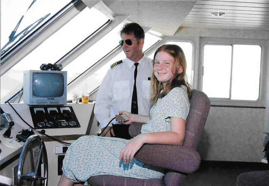 Amy and Tom in the Pilothouse of the Star Gazer August 17 1997
