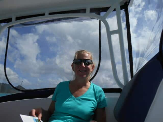 Mom at the helm.