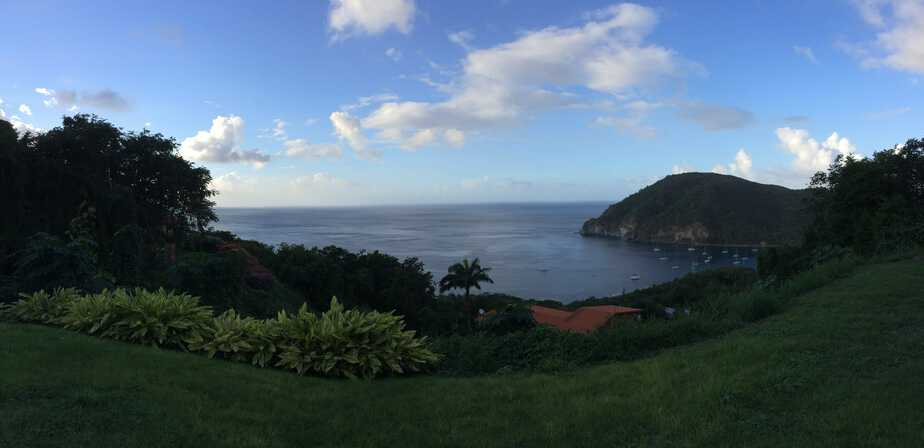 The view down at the bay of Deshaies in Guadeloupe.