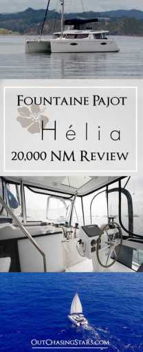 Pin for our review of the Fountaine Pajot Helia 44 catamaran.