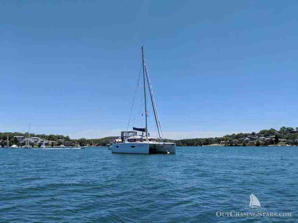 Our Helia 44 on a mooring ball in Lake Macquarie.