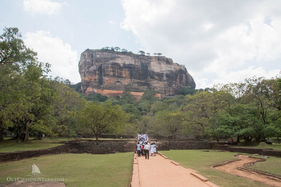 Sigiriya rock as viewed from the surrounding gardens.